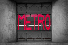 Paris Metro entry sign located in the Latin Quarter. Royalty Free Stock Photography