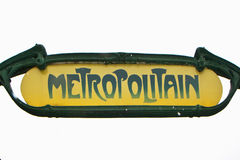 Paris Metro Metropolitain Sign isolated on white Royalty Free Stock Photography