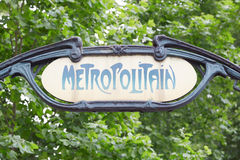 Paris metro, old subway sign Royalty Free Stock Photo