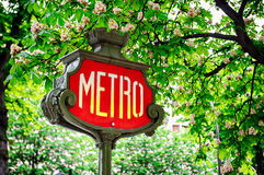 Paris metro sign Stock Images