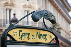 Paris metro sign. Sign of the Gare du Nord subway station in Paris Stock Photography