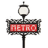 Paris metro sign vector. Illustration of an old Paris metro subway sign with lamp + vector eps file Royalty Free Stock Photo