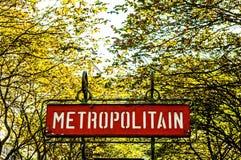 Paris Metro sign. Metropolitain, France royalty free stock photos