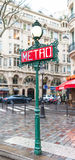 Paris Metro Sign. A traditional Metro sign in downtown Paris, France stock image