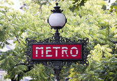 Paris metro sign with tree background Stock Image