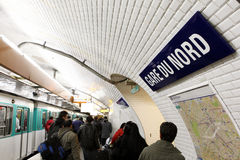 Paris metro station. Gare du Nord, metro station in Paris, France stock photo