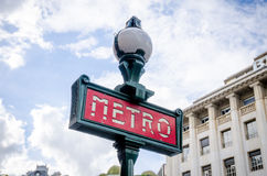 Paris Metro station post Royalty Free Stock Image
