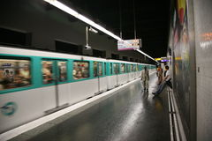 Paris Metro Station and Train Stock Photos