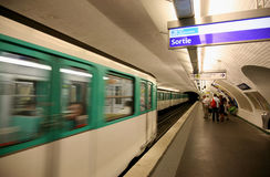 Paris Metro Station and Train Royalty Free Stock Photos