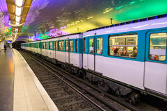 Paris metro in station Royalty Free Stock Photos