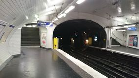 Paris metro station underground Royalty Free Stock Photos