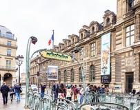 Paris metro subway entry fronting the Louvre Museum. Paris. France Stock Photography