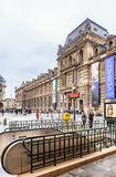 Paris metro subway entry fronting the Louvre Museum. Paris. France Royalty Free Stock Images