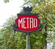 Paris metro subway sign Stock Photography
