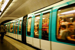 Paris metro train. Blurred underground metro in paris in a station Royalty Free Stock Photography