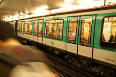 A Paris Metro train arrives Stock Images