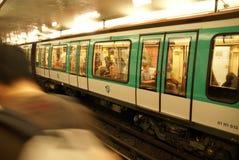 A Paris Metro train arrives Stock Images