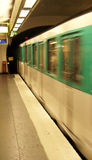 A Paris Metro train arrives Stock Image