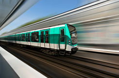 Paris metro train. Fast motion of Paris metro train stock images