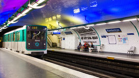 Paris metro train. Rambuteau metro train station Paris, France royalty free stock images