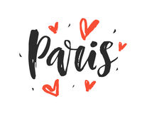 Paris. Modern city hand written brush lettering. Isolated on white background. Ink calligraphy. Capital of France. Tee shirt print, typography card, poster stock illustration