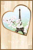 Paris mon amour - Paris my love. Heart shaped retro design of Eiffel tower with cherry blossoms - eps 10 vectors royalty free illustration