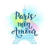 Paris Mon Amour. Romantic hand drawn card on watercolor background stock illustration