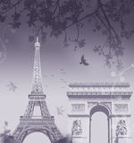 Paris montage. A montage of the eiffel tower and the arc de triomphe in paris Stock Image