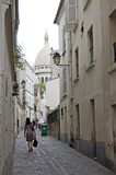 Paris Montmartre Rue saint Rus. One of the lovely and forgotten streets of  Montmartre in Paris, France. Rue saint Rustique Stock Image