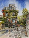 Paris Montmartre street with old house with ivy walls in autumn. Sunny day original watercolor illustration, France Royalty Free Stock Photography