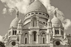 Paris Montmatre Cathedral detail in black and white Royalty Free Stock Photos