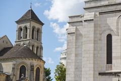 Paris Montmatre Cathedral detail. Paris Montmatre Cathedral on sunny day Stock Images