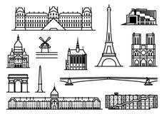 Paris monuments. Paris. Famous landmarks and sights. outline illustration Royalty Free Stock Photo