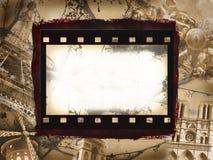 Paris monuments in grunge film background. Grunge film stripe with vintage monuments from Paris Stock Photos