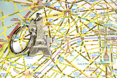 Paris monuments map. Eiffel tower key chain Map of the all the monuments of Paris and its figures in french stock photography