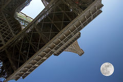 Paris The moon over the Eiffel Tower Stock Photos