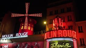 Paris Moulin Rouge, Cabaret At Night, City Attractions, Night Club,  Nightlife.  stock video footage