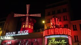 Paris Moulin Rouge, Cabaret At Night, City Attractions, Night Club,  Nightlife.  stock footage