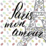 Paris my love lettering sign, french words, with Hand drawn sketch eiffel tower on abstract background vector Illustration Royalty Free Stock Image