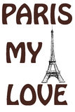 Paris, my love. The words on a colorful watercolor background wi Stock Photography