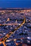 Paris na noite de cima de Fotografia de Stock Royalty Free