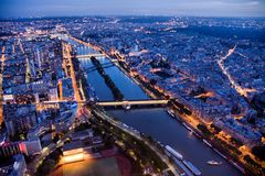 Paris na noite vista de 300 m acima da terra Fotografia de Stock