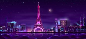 Paris-Nachtstraßenkarikatur-Vektorhintergrund lizenzfreie abbildung