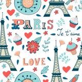 Paris-nahtloses Muster Stockbilder