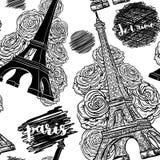 paris Nahtloses Muster der Weinlese mit Eiffelturm, Rosen und Tintengekritzeln Lizenzfreies Stockfoto
