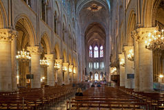 Paris - The nave of Notre Dame gothic cahedral. Stock Images