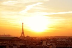 Paris neighborhood at sunset Stock Image