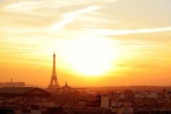 Paris neighborhood at sunset. Paris sunset effel tower cityscape with vibrant colors Stock Image