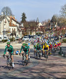 Paris Nice 2013 Cylcing Rrace- Stage 1 in Nemours. Saint-Pierre-lès-Nemours,France- March 4, 2013: Image of the cyclists from Europcar team, including the Stock Images