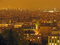 Paris at night. The night panoramic view of Paris (France) as seen from Montmartre Royalty Free Stock Photography